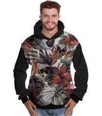 blusa de moletom di nuevo flores com caveira sorrindo folhas tropical rap skull preto