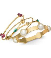 thalia sodi gold-tone 4-pc. set imitation pearl & crystal bangle bracelets, created for macy's