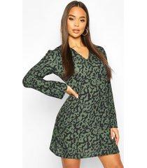 oversized leopard shift dress, khaki