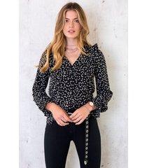hartjes ruches blouse zwart