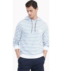 tommy hilfiger men's essential stripe hoodie bright white / captains blue - xs