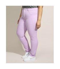 calça de sarja feminina plus size sawary skinny cintura alta lilás
