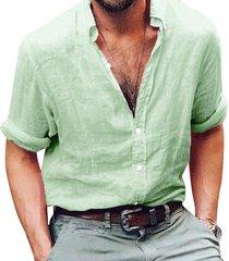 camisas de hombre camisa de manga larga de negocios lino hombre slim-verde