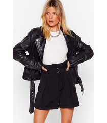 womens won't waist your time paperbag belted shorts - black