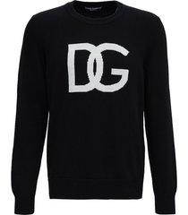 dolce & gabbana black wool sweater with logo