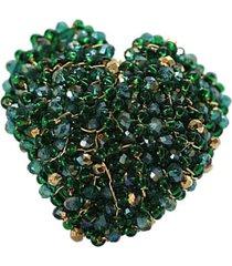 anillo pasionaria baño oro verde brillante bijulovers