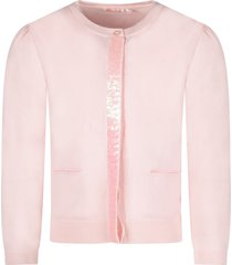 billieblush pink cardigan for girl with sequined detail