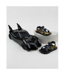 sandália papete infantil grendene batman + batmovel preta