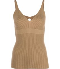 ami amalia ribbed-knit vest top - neutrals