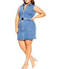 city chic sashay away belted denim dress, size large in mid denim at nordstrom