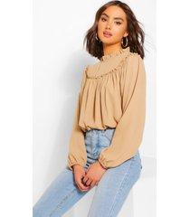 high neck ruffle oversized smock blouse, camel