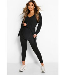 petite zachte geribbelde t-shirt & wide leg broek set, zwart