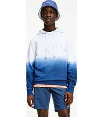 tommy hilfiger men's organic cotton dip-dye hoodie desert sky - xs