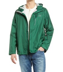 men's l.l.bean men's trail model water repellent rain jacket, size xx-large - green