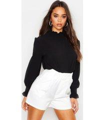 blouse met geplooide kraag, zwart