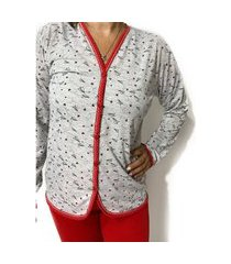 pijama de inverno feminino aberto blusa manga longa e calça