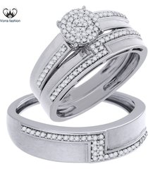 10k white gold plated 925 silver diamond trio set engagement ring wedding band
