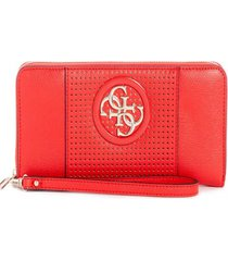 billetera open road slg large zip around coral guess
