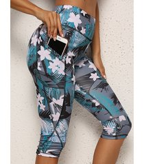 bolsillos laterales azules leggings tropicales de cintura alta
