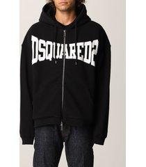 dsquared2 sweatshirt dsquared2 zip sweatshirt with logo