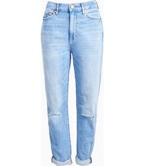 loft petite high rise slim pocket boyfriend jeans in vintage light indigo wash
