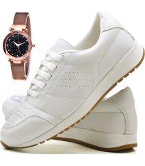 tãªnis sapatãªnis casual fashion com relã³gio gold dubuy 1102-1103el branco - branco - feminino - sintã©tico - dafiti