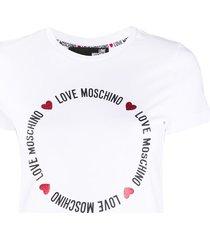 love moschino round lettering logo t-shirt - white