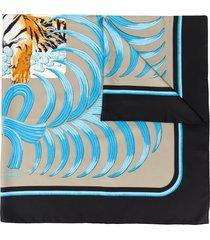 hermès pre-owned tigre royal scarf - blue