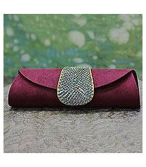 beaded clutch handbag, 'burgundy starlight' (india)