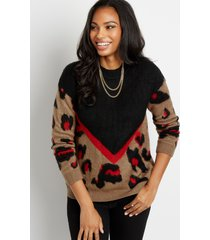 maurices womens chevron leopard print cozy pullover sweater