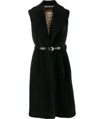 ermanno ermanno sleeveless belted coat - black