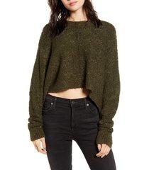 women's lira clothing mattie crop sweater, size large - green