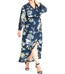 plus size women's standards & practices elle high/low wrap dress