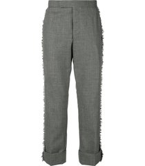 thom browne frayed edge classic-fit trouser - grey