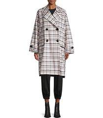 oversized plaid trench coat