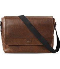 men's shinola navigator leather messenger bag - brown