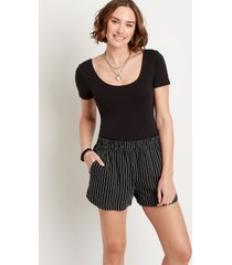 maurices womens black stripe linen 3.5in dolphin shorts