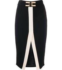 elisabetta franchi hardware embellished front slit skirt - black