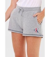 short calvin klein underwear lettering cinza - cinza - feminino - algodã£o - dafiti