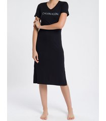 pijama feminino camisola longa preto calvin klein - m
