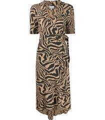 ganni tiger swirl print wrap dress - neutrals
