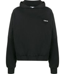 c2h4 dropped-shoulder hooded sweatshirt - black