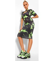 crop top en midi jurk set met bliksemprint, lime