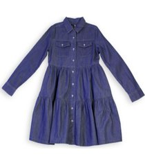calvin klein big girls chambray tiered dress