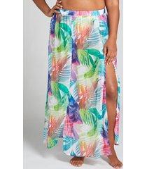 lane bryant women's chiffon faux-wrap cover-up skirt 22/24 tropical rainbow