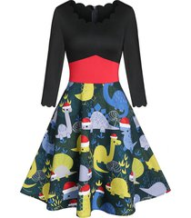 christmas dinosaur print a line patchwork dress