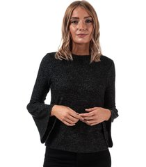 womens brushed fluted sleeve lounge top