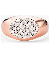 mk anello a sigillo in argento sterling con placcatura in metallo prezioso e pavé - oro rosa (oro rosa) - michael kors