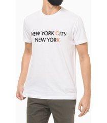 camiseta mc regular silk new york city - branco - pp