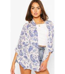 paisley print kimono, blue